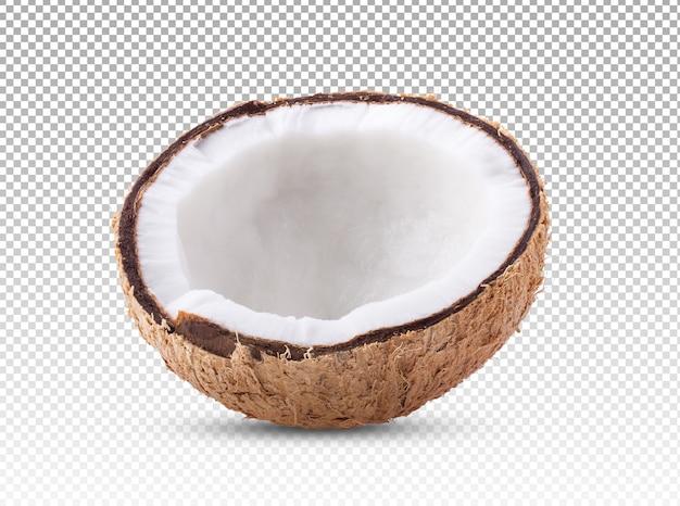 Mezza noce di cocco isolata