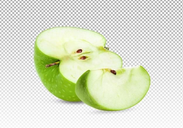 Metà di una mela verde con fetta isolata