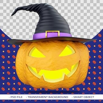 Zucca di halloween 3d con occhi intagliati e bocca nel cappello da strega