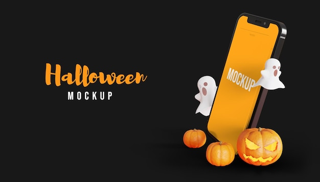 Mockup dello schermo dello smartphone 3d di halloween con fantasma e zucca