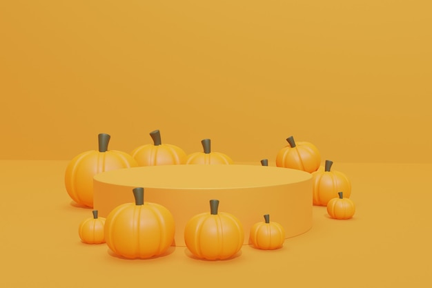 Disegno di sfondo di halloween con podio 3d