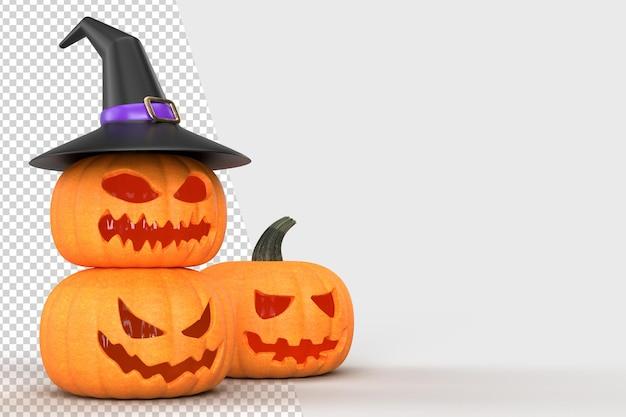 Mock-up di sfondo di halloween con zucche e cappello da strega. modello di concetto di halloween