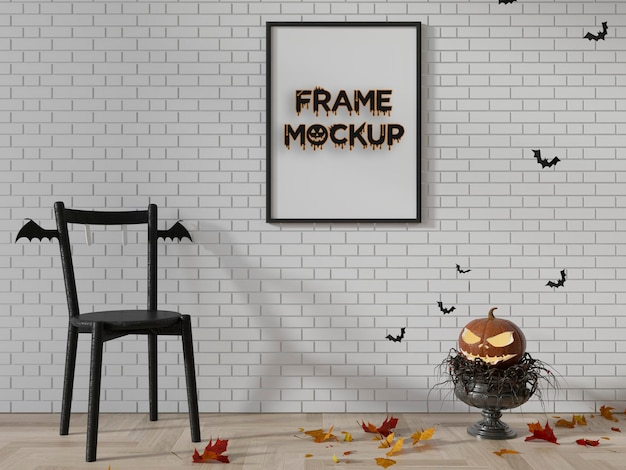 Mockup di cornice zucca sfondo di halloween psd premium