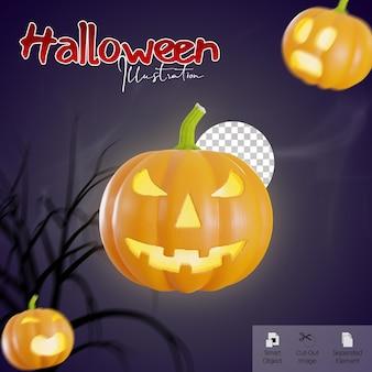 Banner di halloween con rendering 3d di emoji zucca