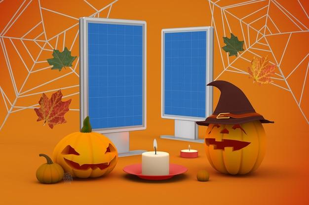 Mockup di cartelloni pubblicitari di halloween