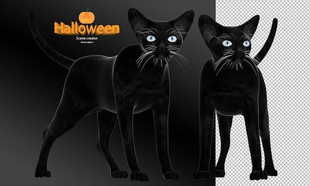 Rendering 3d del gatto nero di halloween
