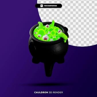 Il calderone di halloween 3d rende l'illustrazione isolata