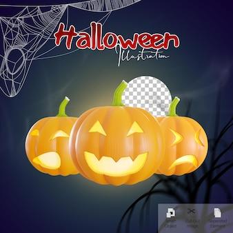 Banner di celebrazione di halloween con rendering 3d di emoji zucca