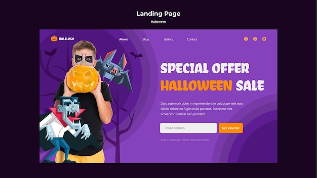 Modello di pagina di destinazione del concetto di halloween
