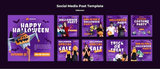Modello di post sui social media di concetto di halloween