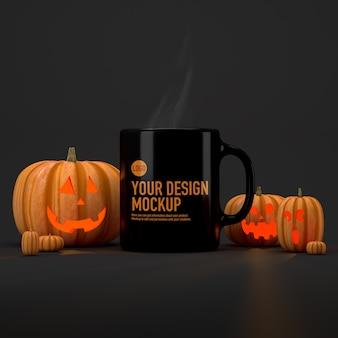 Mockup di tazza di caffè di halloween accanto alle zucche