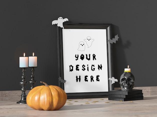 Mockup di cornice decorazione evento di halloween con zucca e teschio
