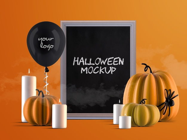 Mockup di decorazione per eventi di halloween con cornice verticale, zucche, palloncino di elio e candele