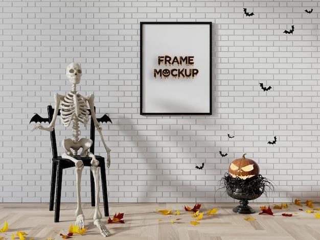 Mockup di scena con cornice di halloween psd premium