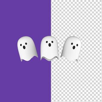 Fantasmi di halloween bianco che volano anime carine isolate sfondo viola 3d render model Psd Premium