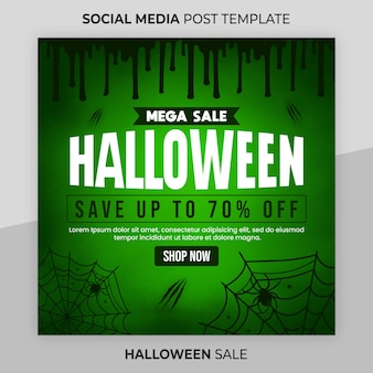 Post instagram di halloween o modello di banner web quadrato