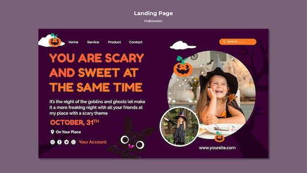 Modello di pagina di destinazione di halloween con foto