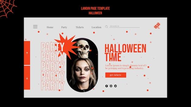 Pagina di destinazione di halloween con foto