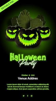 Manifesto della festa notturna di halloween con illustrazione di tombe e zucca in stile 3d