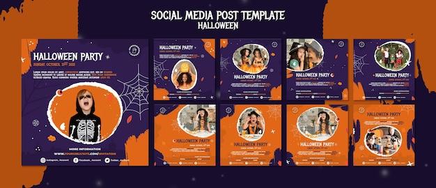 Set di post instagram per la festa di halloween
