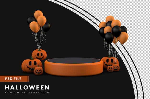 Podio di halloween un concetto 3d con zucca e palloncini per l'evento