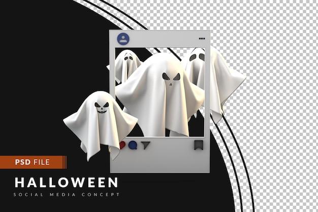 Post di halloween per i fantasmi dei social media su sfondo scuro