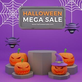 Halloween promozione vendita marketing podio zucche spaventose 3d illustrazione sfondo alta qualità