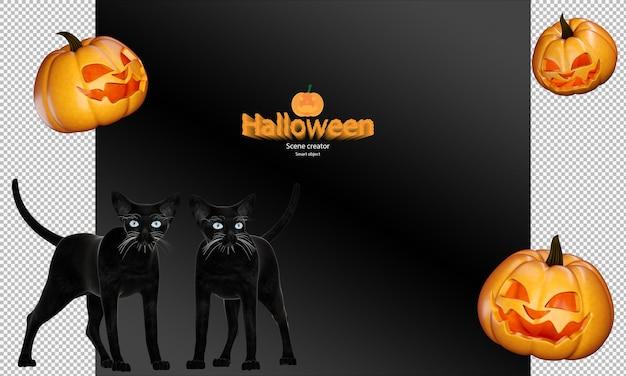 Zucca di halloween e gatto nero