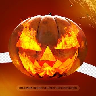 La zucca di halloween rende isolata Psd Premium