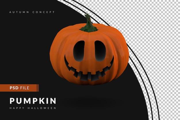 Zucche di halloween con sfondo nero 3d render