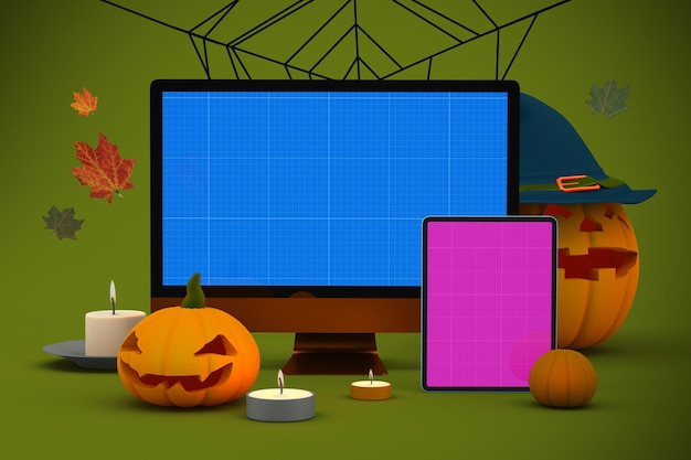 Mockup reattivo di halloween