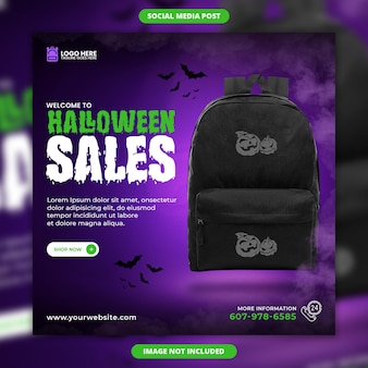 Social media di vendita di halloween e modello di post di instagram