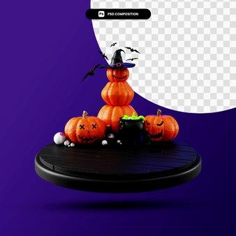 La scena di halloween 3d rende l'illustrazione isolata