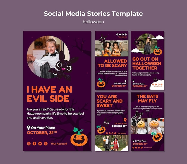 Set di storie sui social media di halloween