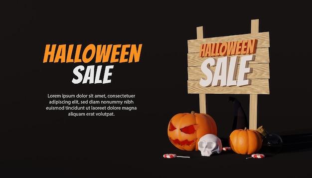 Banner di vendita speciale di halloween con zucca 3d