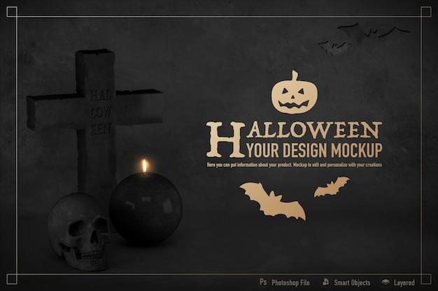 Mockup di natura morta di halloween isolato su sfondo di colore nero