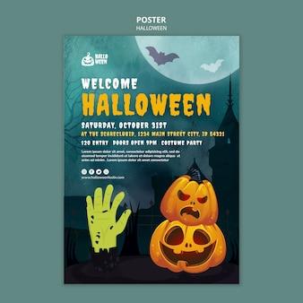Modello di stampa verticale di halloween con zucche e mano mostruosa