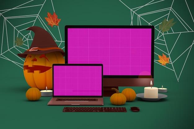 Mockup del sito web di halloween