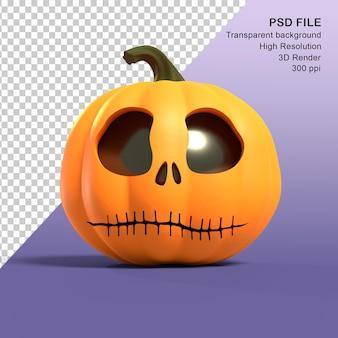 Rendering 3d della zucca di hallowen vista frontale bocca cucita