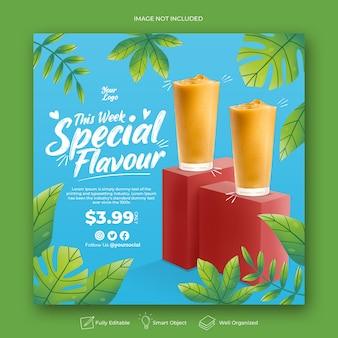 Modello di post instagram menu di succo di bevanda disegnata a mano