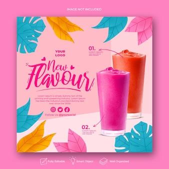 Modello di post instagram menu drink disegnato a mano Psd Premium