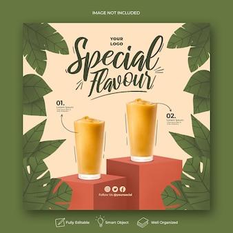 Modello di post instagram menu drink disegnato a mano