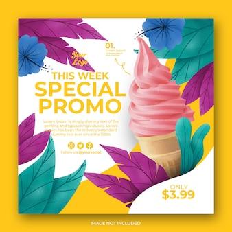 Modello di banner post instagram gelato disegnato a mano