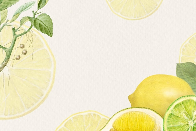 Cornice disegnata a mano con motivi di limone fresco naturale