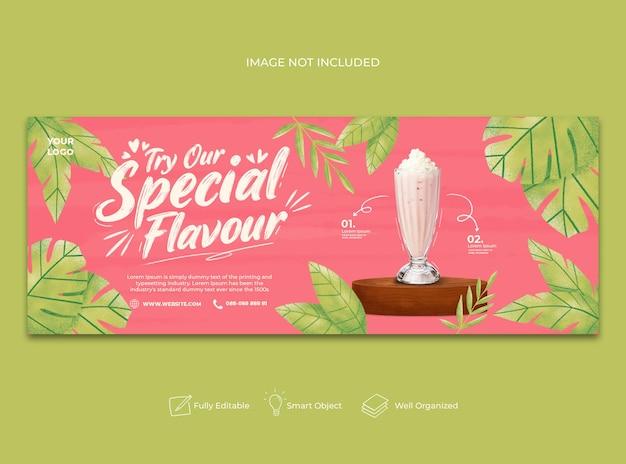 Banner di facebook menu succhi speciali disegnati a mano