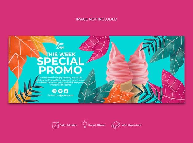 Banner di facebook menu promozionale speciale disegnato a mano