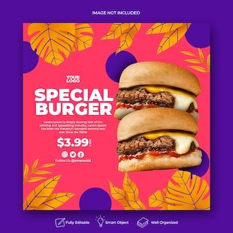 Modello di post instagram menu promozionale disegnato a mano