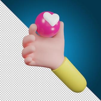 Simbolo dell'icona di amore di emozione della tenuta della mano. icone del cuore, icona dei social media, illustrazione 3d