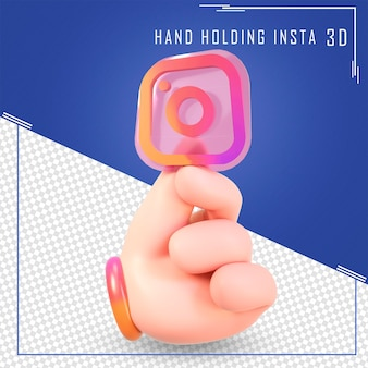 Mano che tiene le icone di instagram con rendering 3d