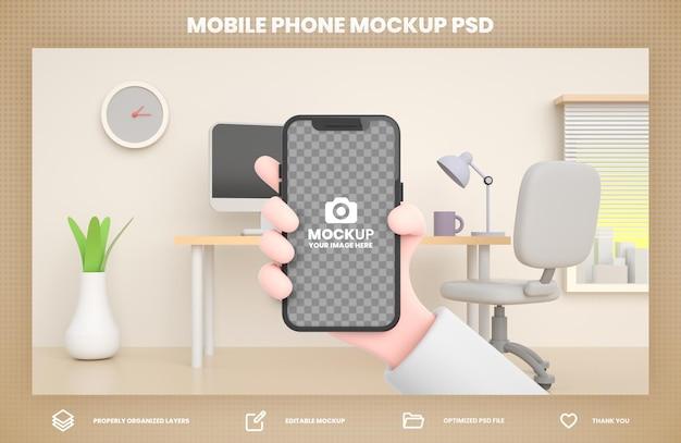 Mano che tiene il modello di rendering 3d del telefono per il modello di post di social media instagram